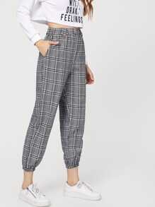 Elastic Waist Plaid Pants