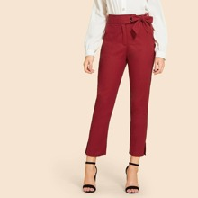 Ring Detail Knot Waist Solid Pants