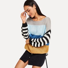 Multicolor Casual Long Sleeve Striped Colorblock Fabric has some stretch Spring Sweaters, size features are:Length: Regular,Sleeve Length : Long Sleeve,