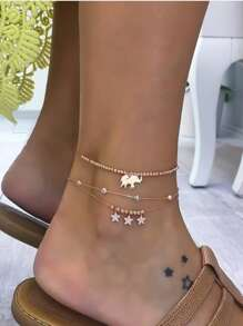 Elephant & Star Anklet Set 3pcs