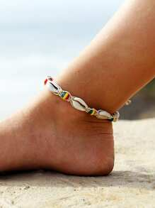 Color Block Bead Detail Shell Anklet