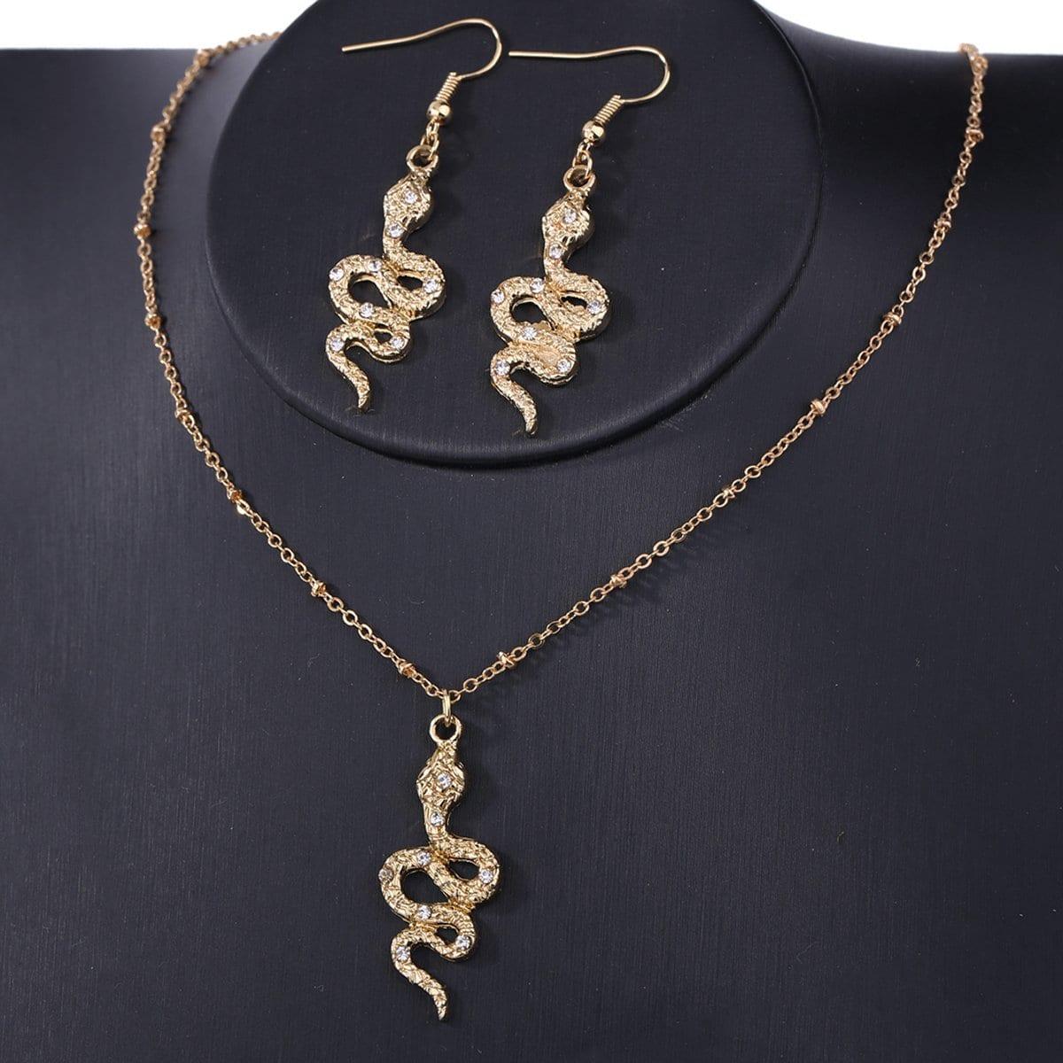 Schlangen Anhänger Halskette & Ohrringe Set