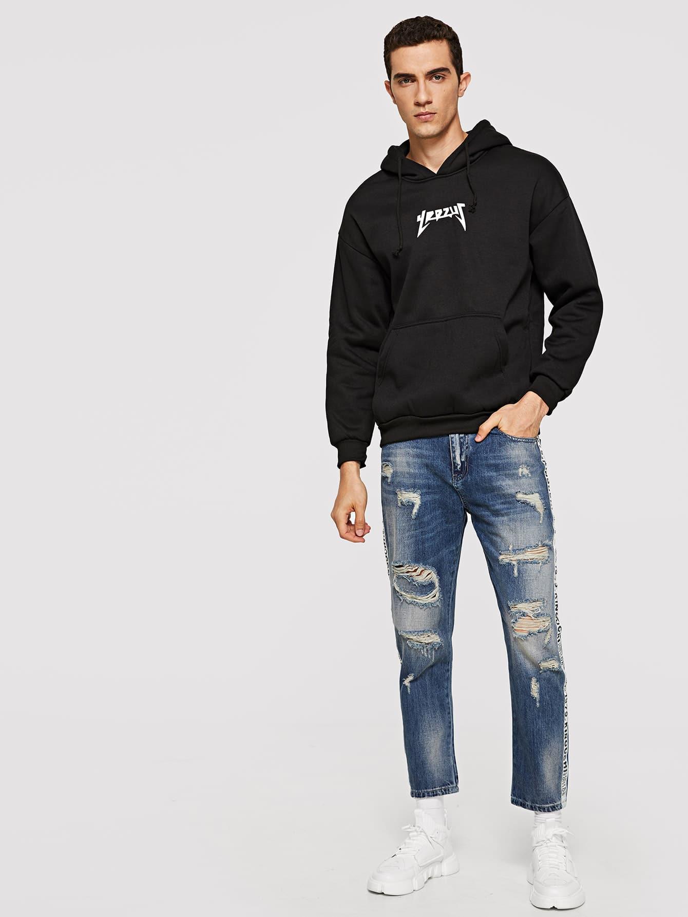 m nner zerrissene jeans mit band detail und gerolltem saum german shein sheinside. Black Bedroom Furniture Sets. Home Design Ideas