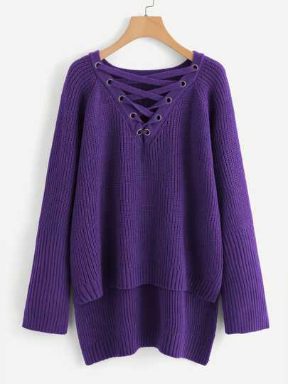 Plus Grommet Crisscross Step Hem Sweater