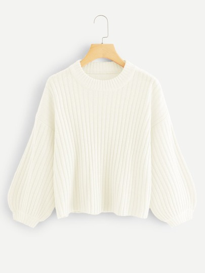 Bishop Sleeve Rib Knit Sweater