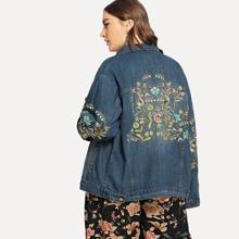 Image of Plus Floral Embroidered Denim Jacket