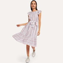 Ruffle Hem Flutter Sleeve Belted Striped Dress