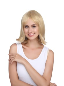 Short Straight Wig With Bangs 1pc