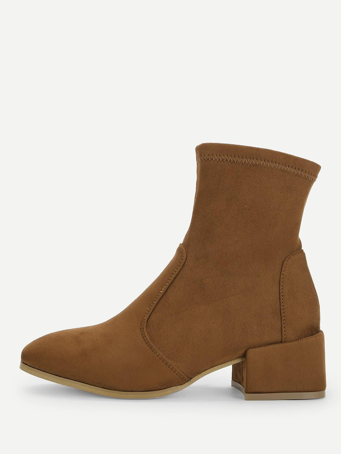 Plain Block Heeled Boots