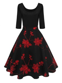 Plum Blossom Print Dress