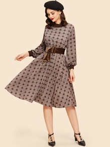 Bishop Sleeve Plaid Belted Dress