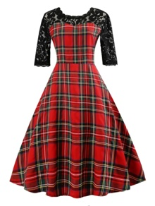 Plaid Round Neck Contrast Lace Dress
