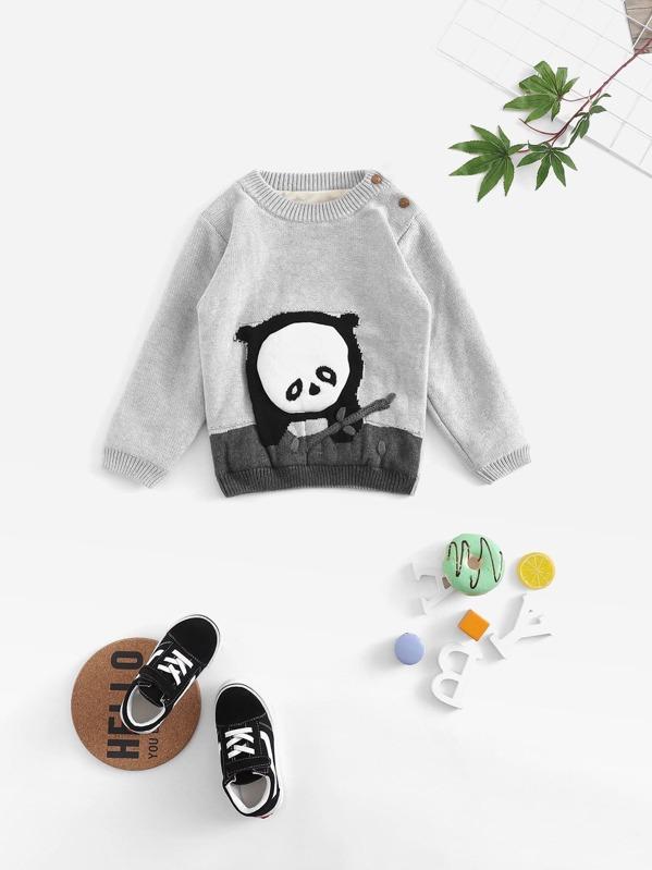 c83dd8bfb69 Toddler Girls Panda Pattern Knit Jumper
