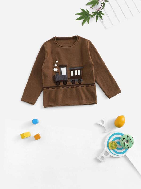 2fb9ff28 Cheap Toddler Boys Small Train Pattern Knit Sweater for sale Australia |  SHEIN