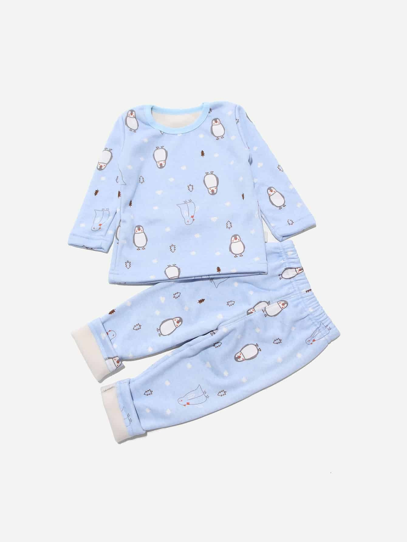 Boys Penguin Print Top With Pants Boys Penguin Print Top With Pants