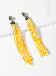 Rhinestone Detail Sequin Tassel Drop Earrings 1pair