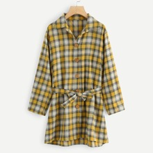INOpets.com Anything for Pets Parents & Their Pets Self Tie Plaid Coat