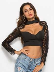 Contrast Lace Crop Blouse