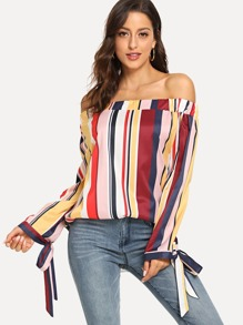Striped Knot Off Shoulder Blouse