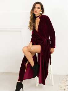 High Split Velvet Wrap Dress