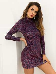 Leopard Print Mock Neck Dress