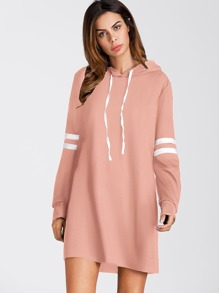 Striped Sleeve Hooded Sweatshirt Dress