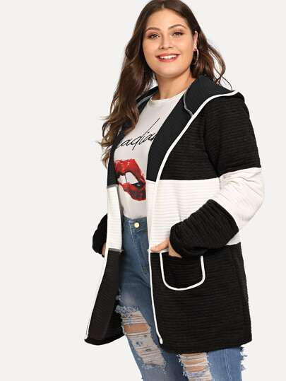 Plus Contrast Trim Two Tone Hooded Coat