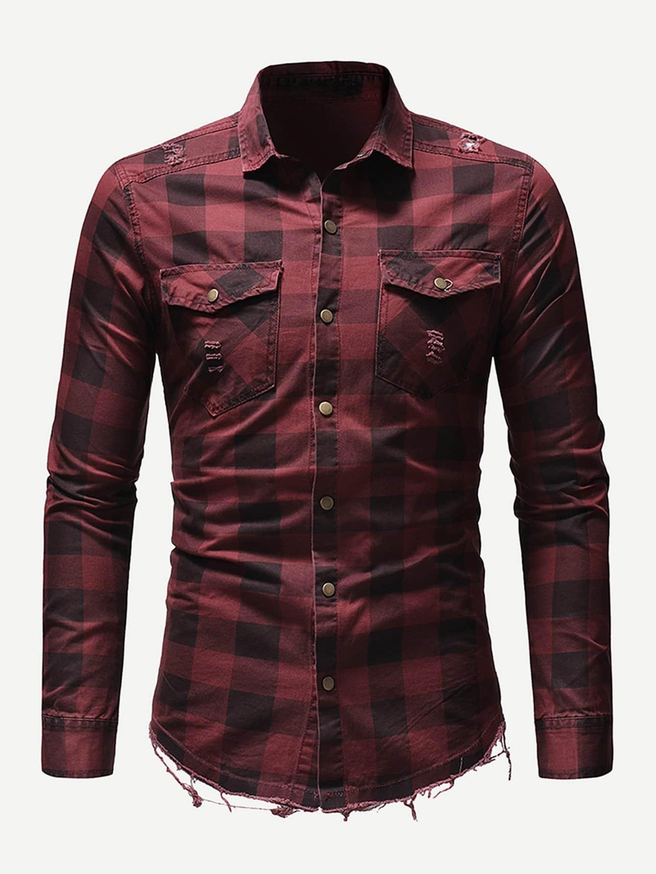 Men Ripped Detail Plaid Shirt Men Ripped Detail Plaid Shirt