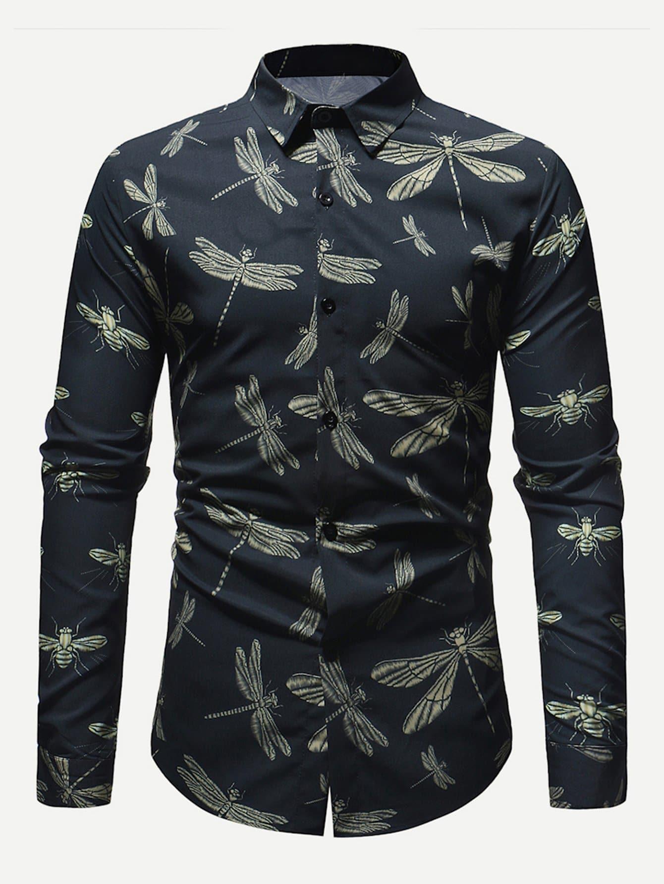 Men Dragonfly Overlay Print Shirt Men Dragonfly Overlay Print Shirt
