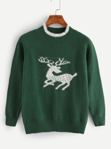 Christmas Deer Contrast Trim Sweater