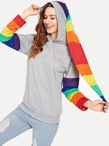 Block Striped Sweatshirt With Oversized Hooded