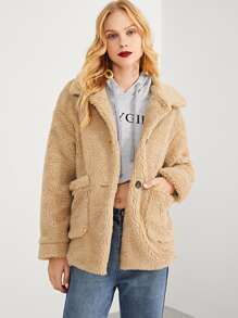 Button & Pocket Front Teddy Coat