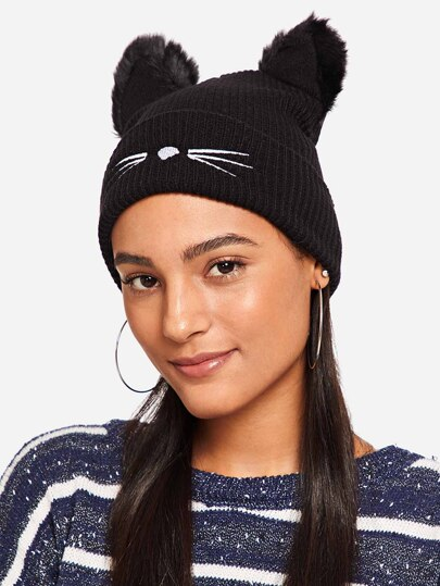 Home · Accessories · Hats  Gloves  Pom Pom Ear Beanie Hat ebcc8ea1242