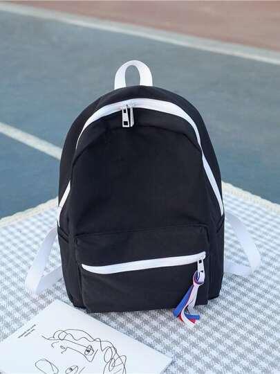 918abe8099 Contrast Trim Tassel Detail Backpack   ROMWE