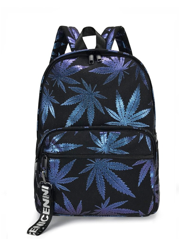 Men Leaf Print Canvas Backpack