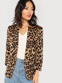 Shawl Collar Gathered Sleeve Leopard Blazer