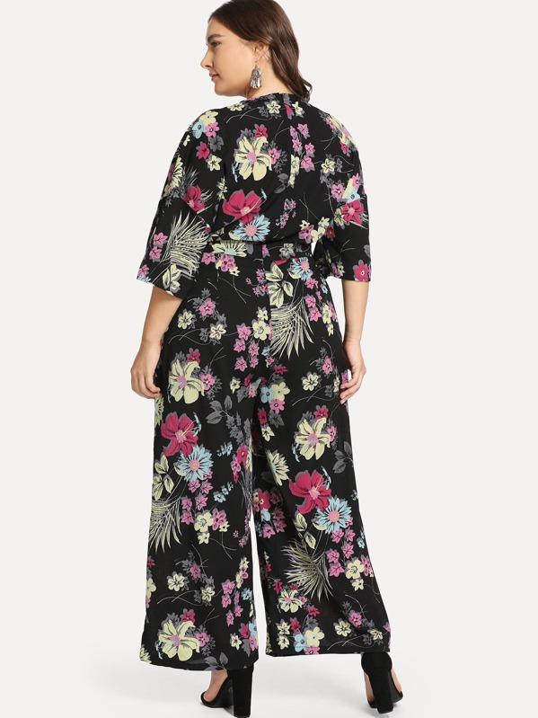 a03cb10334 Plus Knot Front Wide Leg Botanical Jumpsuit   SHEIN