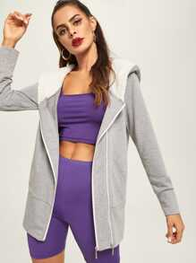 Zipper Up Drawstring Hoodie Coat