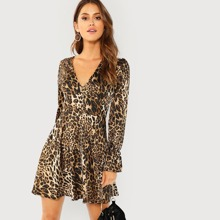 Leopard Print Flounce Sleeve Fit & Flare Dress