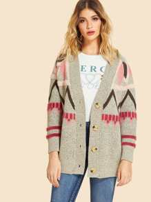 Geometric Pattern Knit Coat