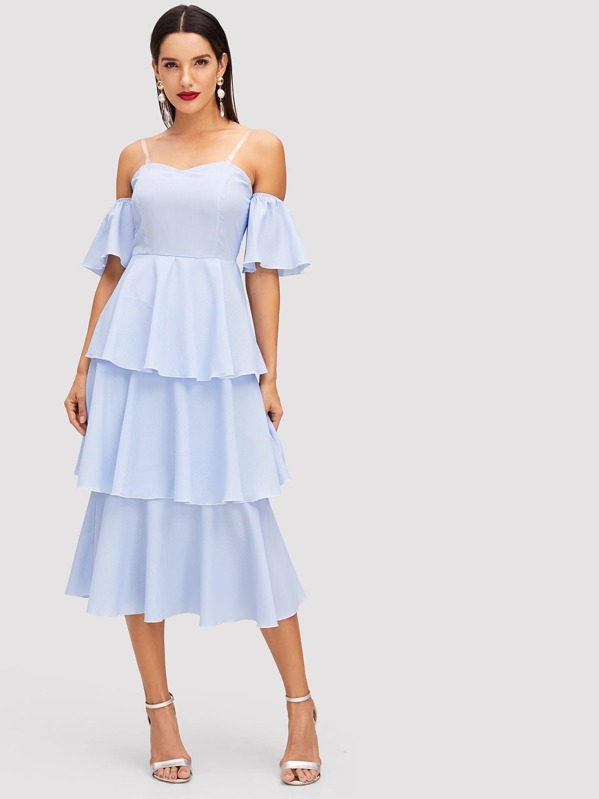 5737575c9f3 Tiered Ruffle Striped Off Shoulder Dress