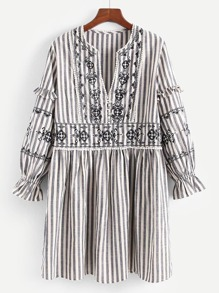 Contrast Stripe Embroidered Lace Trim Dress