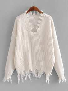 Frayed Edge Drop Shoulder Jumper