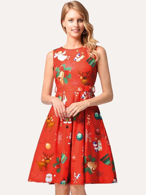 e9ff39bff7 Cheap Christmas Print Self Tie Dress for sale Australia   SHEIN