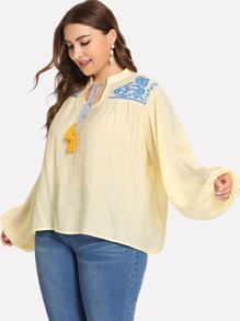 Plus Embroidered Fringe Detail Blouse