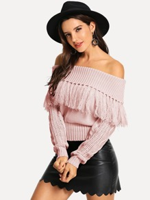 Off Shoulder Fringe Sweater