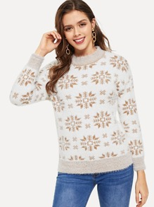 Christmas Snowflake Pattern Jumper