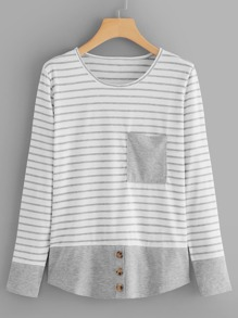 Contrast Hem Striped Tee