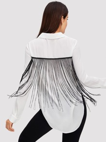 Fringe Patched Curved Hem Shirt