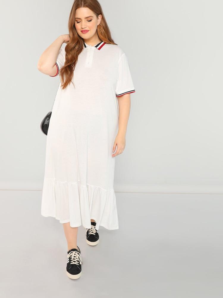 Plus Contrast Striped Ruffle Hem Polo Dress
